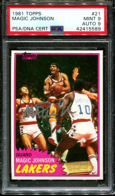 1981 TOPPS #21 MAGIC JOHNSON LAKERS HOF PSA 9 DNA AUTO 9