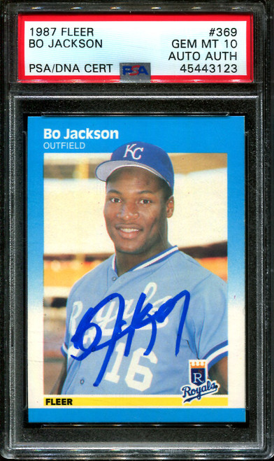 1987 FLEER #369 BO JACKSON RC ROYALS PSA 10 DNA AUTO AUTHENTIC B1008761-123