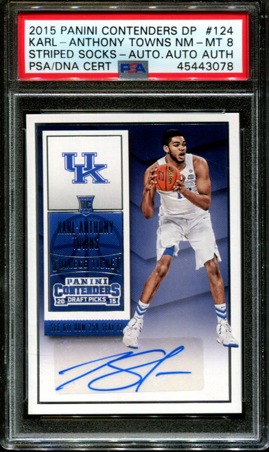 2015 PANINI CONTEND #124 KARL-ANTHONY TOWNS RC PSA 8 DNA AUTO AUTH. K1008288-078