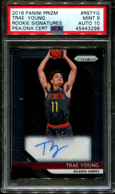 2018 PANINI PRIZM ROOKIE SIGN. #RSTYG TRAE YOUNG PSA 9 DNA AUTO 10 K1008289-298