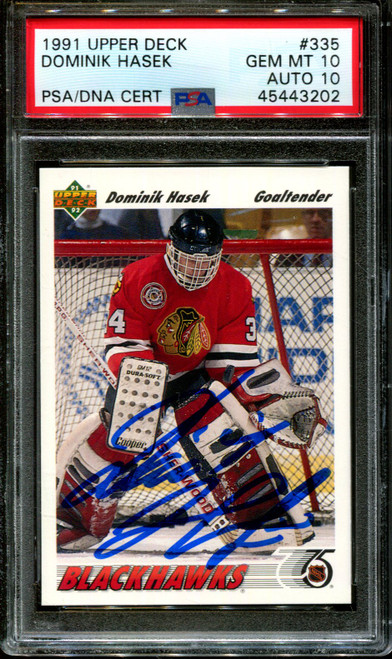 1991 UPPER DECK #335 DOMINIK HASEK RC HOF PSA 10 DNA AUTO 10 H1008291-202