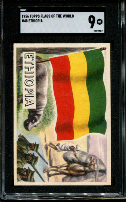 1956 TOPPS FLAGS OF THE WORLD #48 ETHIOPIA SGC 9 N1010029-507
