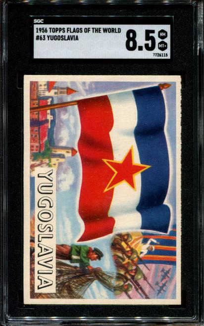 1956 TOPPS FLAGS OF THE WORLD #63 YUGOSLAVIA SGC 8.5 N1010285-115