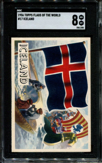 1956 TOPPS FLAGS OF THE WORLD #17 ICELAND SGC 8 N1010288-285