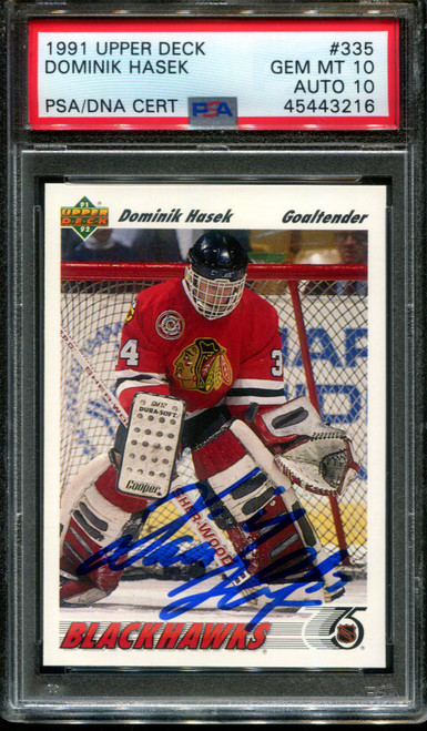 1991 UPPER DECK #335 DOMINIK HASEK RC HOF PSA 10 DNA AUTO 10 H1012721-216
