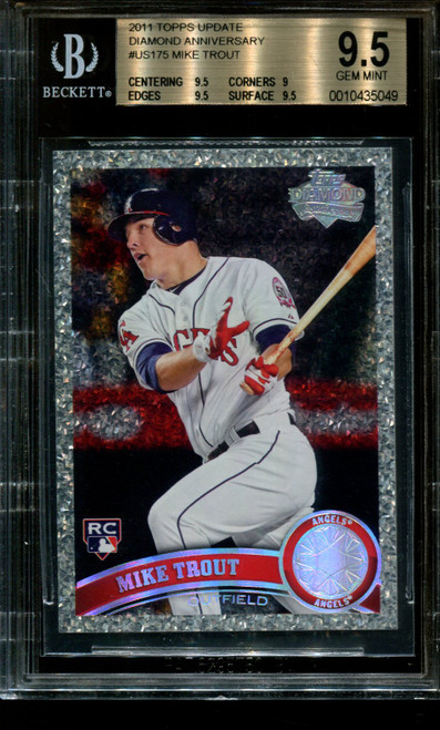2011 TOPPS UPDATE DIAMOND ANNIVERSARY #US175 MIKE TROUT RC BGS 9.5 B1013147-049