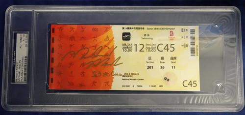 "2008 OLYMPICS REPRINT TICKET MICHAEL PHELPS ""23X GOLD MEDALS"" AUTOGRAPH PSA/DNA"