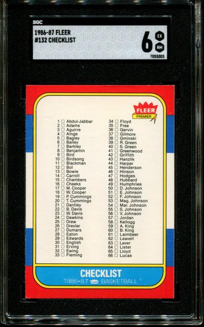 1986 FLEER #132 CHECKLIST SGC 6 EX-NM K1013990-005