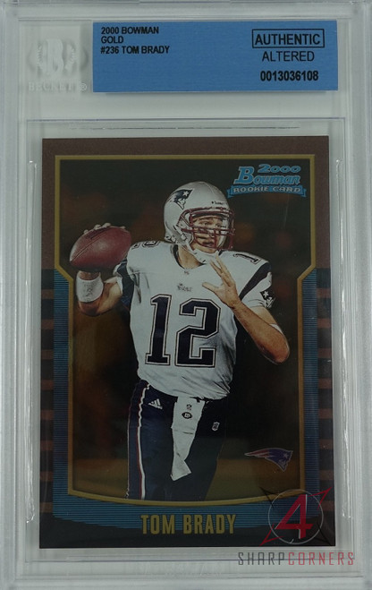 2000 BOWMAN GOLD #236 TOM BRADY RC ROOKIE #'D/99 BGS AUTHENTIC (ALTERED)