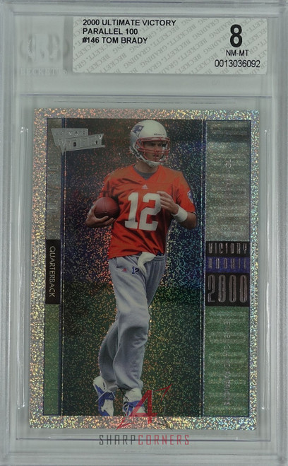 2000 ULTIMATE VICTORY PARALLEL 100 #146 TOM BRADY RC ROOKIE BGS 8 NM-MT