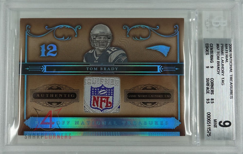 2006 NATIONAL TREASURES MATERIAL PRIME LAUNDRY TAG #97 TOM BRADY #'D/10 BGS 9 MINT