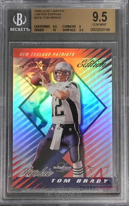 2000 LEAF LIMITED LIMITED EDITION #378 TOM BRADY RC ROOKIE #'D/50 POP 1 OF 3 (ONLY 10 SUBGRADE) BGS 9.5 GEM MINT