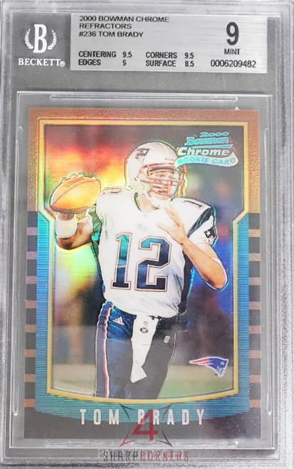 2000 BOWMAN CHROME REFRACTORS #236 TOM BRADY RC ROOKIE (32 HIGHER IN BGS DATABASE) BGS 9 MINT
