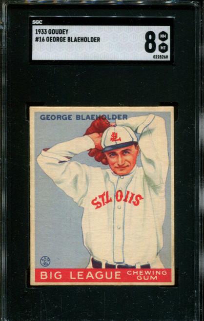 1933 GOUDEY #16 GEORGE BLAEHOLDER SGC 8 B1005985-268