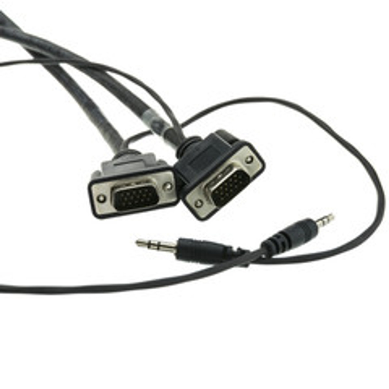 Plenum SVGA Cable w/ Audio, Black, HD15 Male + 3.5mm Male, Coaxial Construction, Shielded, 75 foot