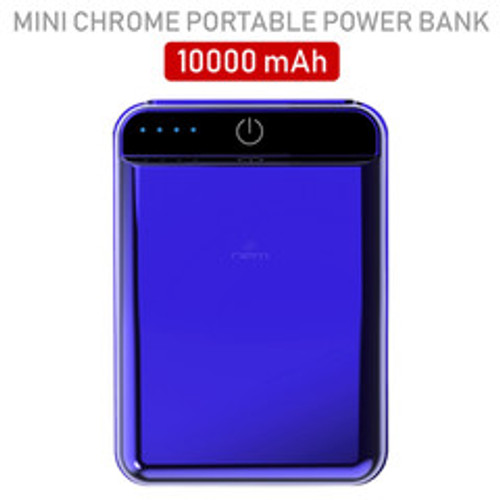 2 port Power bank 10000 mAh USB Battery Backup, includes Micro USB cable, Blue.