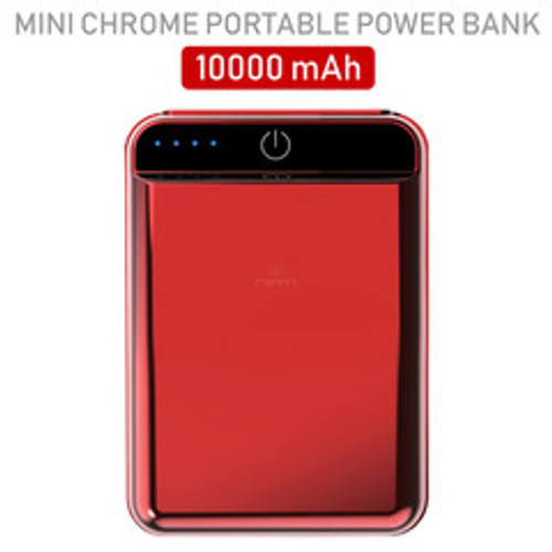 2 port Power bank 10000 mAh USB Battery Backup, includes Micro USB cable, Red.