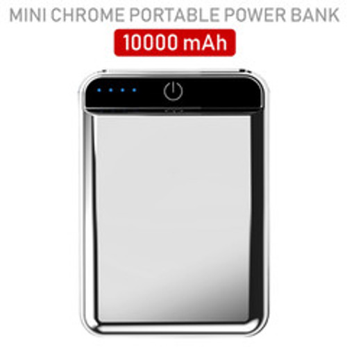 2 port Power bank 10000 mAh USB Battery Backup, includes Micro USB cable, Silver.