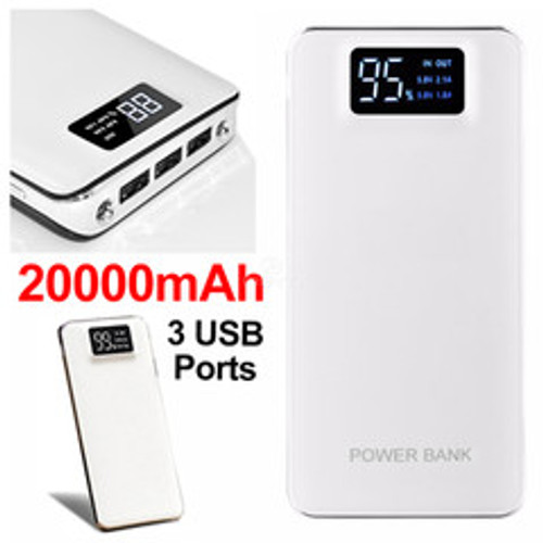 3 port Power bank 20000 mAh USB Battery Backup, includes Micro USB cable, white.