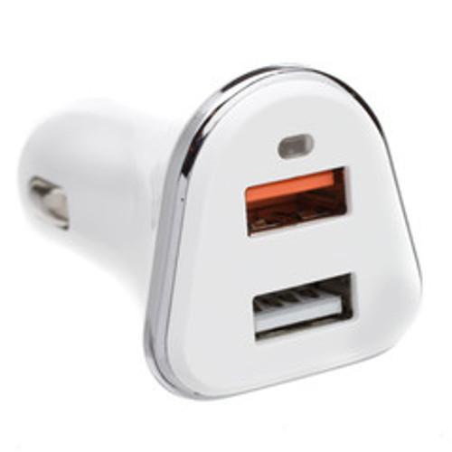 2 Port USB Car Charger, 2 x USB A, 5V 3A, Cigarette Lighter Plug, features Quick Charge v3.0