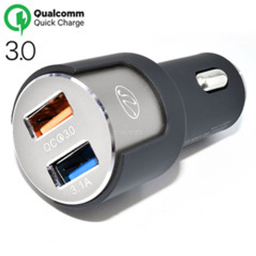 2 Port USB Car Charger, 3.1A total. Cigarette Lighter Plug, features 1 port Qualcomm Quick Charge v3.0