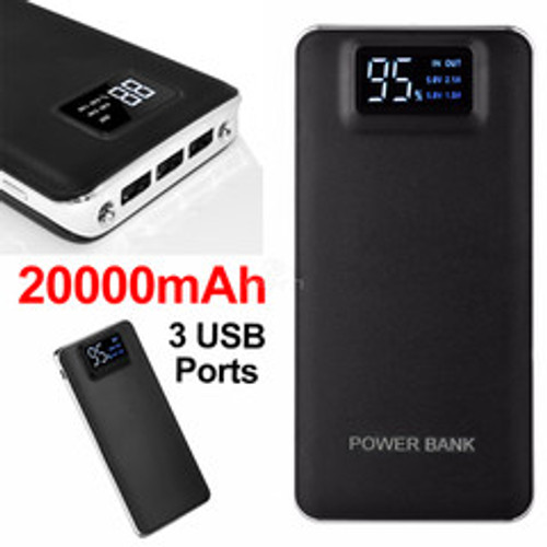 3 port Power bank 20000 mAh USB Battery Backup, includes Micro USB cable