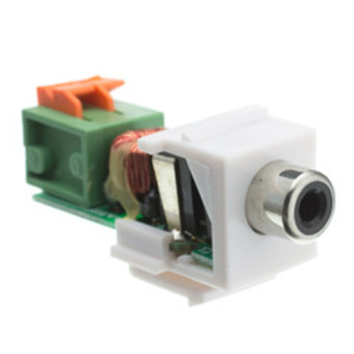 Keystone Insert, White, RCA Female to Balun over twister pair (Black RCA), Working Distance 350 foot