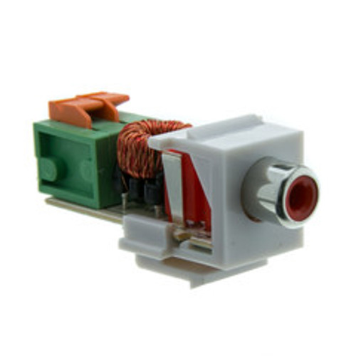 Keystone Insert, White, RCA Female to Balun over twister pair (Red RCA), Working Distance 350 foot