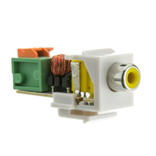 Keystone Insert, White, RCA Female to Balun over twister pair (Yellow RCA), Working Distance 350 foot