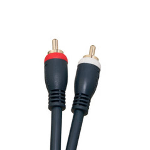 High Quality RCA Stereo Audio Cable, Dual RCA Male, 2 channel (Right and Left), Gold-plated Connectors, blue, 25 foot