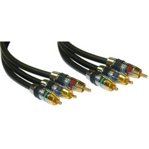 Premium Component Video RCA Cable, 3 RCA Male, 24K Gold Connectors, CL2, 75 foot