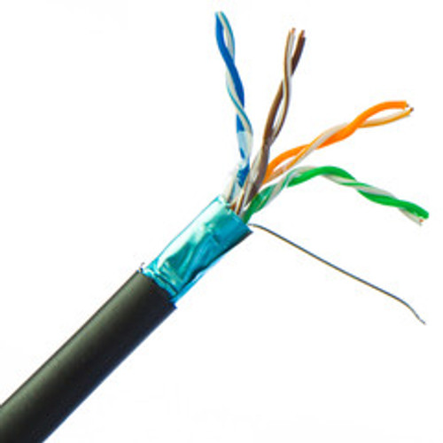 Direct Burial/Outdoor Rated Shielded Cat5e Black Ethernet Cable, Solid, 24 AWG, Spool, 1000 foot