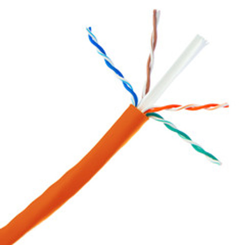 Bulk Cat6 Orange Ethernet Cable, Solid, UTP (Unshielded Twisted Pair), Pullbox, 1000 foot