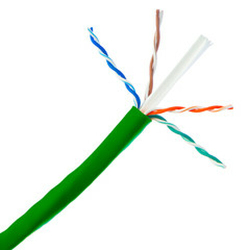 Bulk Cat6a Green Ethernet Cable, 10 gig Solid, UTP (Unshielded Twisted Pair), 500Mhz, 23 AWG, Spool, 1000 foot