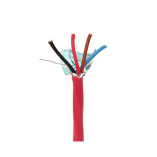 Shielded Fire Alarm / Security Cable, Red, 14/4 (14 AWG 4 Conductor), Solid, FPLR, Spool, 1000 foot