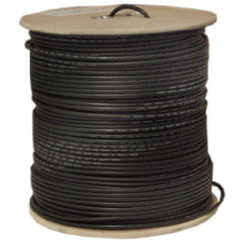 Bulk RG58/AU Coaxial Cable, Black, 20 AWG, Copper Stranded Center Conductor, Braided Shield, Spool, 1000 foot