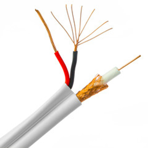 Plenum RG59 Siamese Coaxial + Power Cable, 20AWG Solid Copper Coax, 18/2 Stranded Copper Power, Bonded White CMP Jacket, Spool, 1000 foot