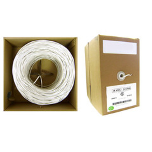 22/2 (22AWG 2C) Solid CM Security Cable, White, 500 ft, Pullbox