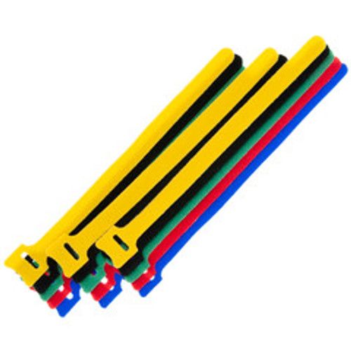 Hook and Loop Cable Tie, Assortment 15pcs - 3/each color (Red, Blue, Green, Yellow, Black)
