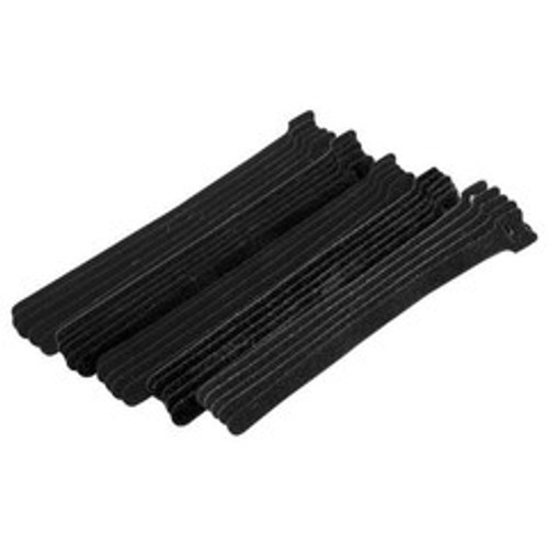 Black Hook and Loop Cable Strap w/ Eye, 0.50 inch x 8 inch, 25 Pack