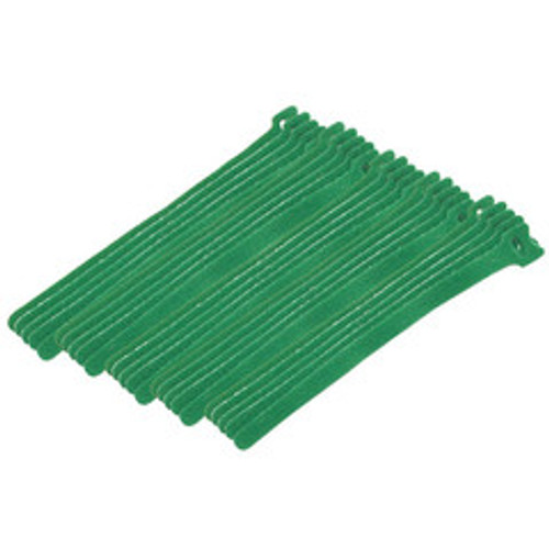 Green Hook and Loop Cable Strap w/ Eye, 0.50 inch x 8 inch, 25 Pack