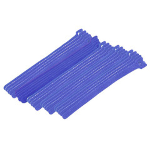 Blue Hook and Loop Cable Strap w/ Eye, 0.50 inch x 8 inch, 25 Pack