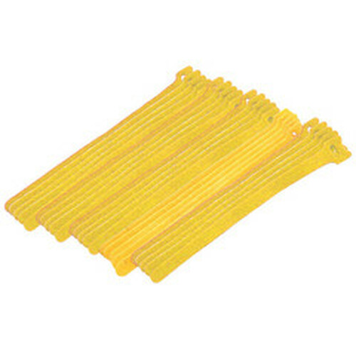 Yellow Hook and Loop Cable Strap w/ Eye, 0.50 inch x 8 inch, 25 Pack
