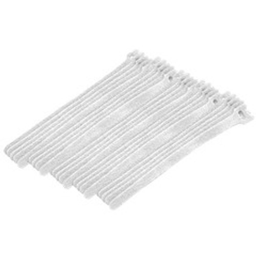 White Hook and Loop Cable Strap w/ Eye, 0.50 inch x 8 inch, 25 Pack