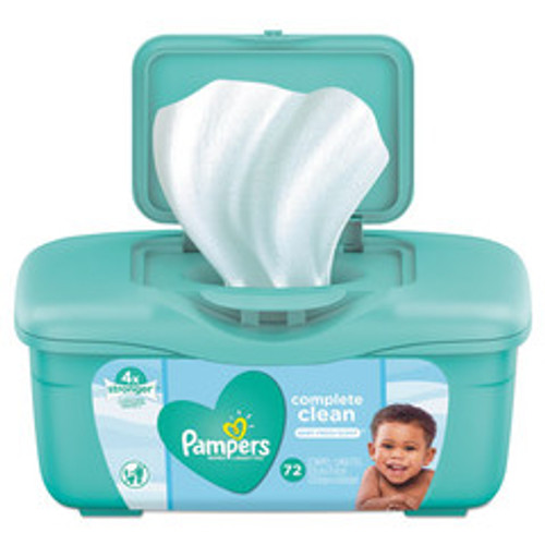 Pampers Complete Clean Baby Wipes, 1 Ply, Baby Fresh, 72 Wipes/Tub