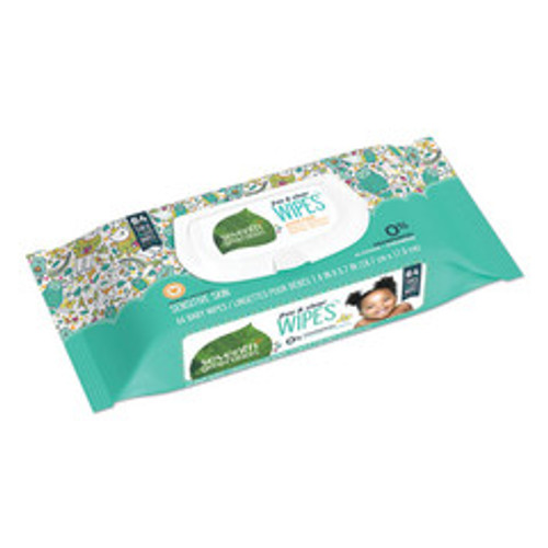 Case of 12 - Seventh Generation Free & Clear Baby Wipes, Unscented, White, 64/Pack