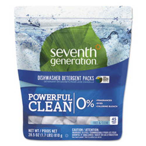 Seventh Generation Natural Dishwasher Detergent Concentrated Packs, Free & Clear, 45 Packets
