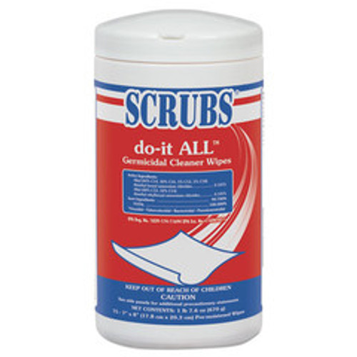 Scrubs Do-It All Germicidal Cleaner Wipes, Lemon, 7 x 8 inches, White, 75/Container