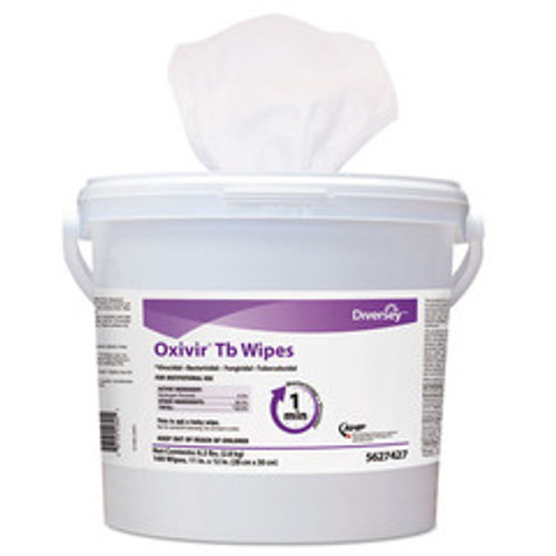 Diversey Oxivir TB Disinfectant Wipes, 11 x 12, White, 160/Bucket