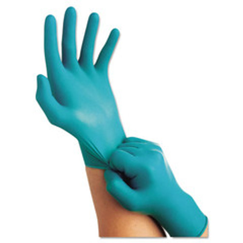 Ansell TouchNTuff Disposable Nitrile Gloves, 5 mil, Teal, Small, 6.5 - 7, Powder-Free, 100/Box